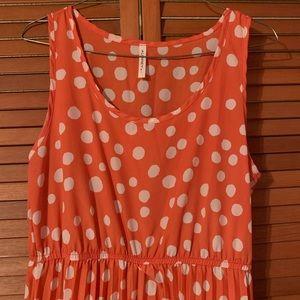 Salmon Colored Polka Dot Pleated Dress